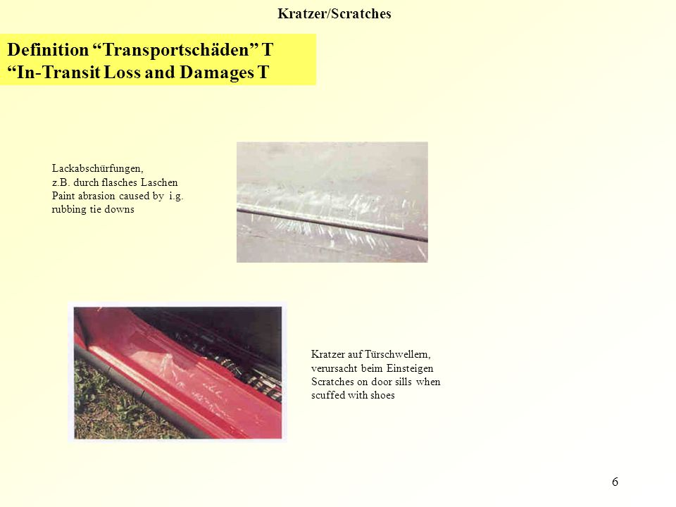 Definition Transportschäden T In-Transit Loss and Damages T