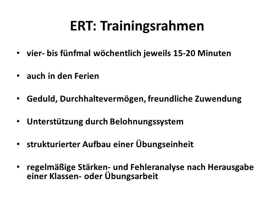 ERT: Trainingsrahmen vier- bis fünfmal wöchentlich jeweils 15-20 Minuten. auch in den Ferien. Geduld, Durchhaltevermögen, freundliche Zuwendung.