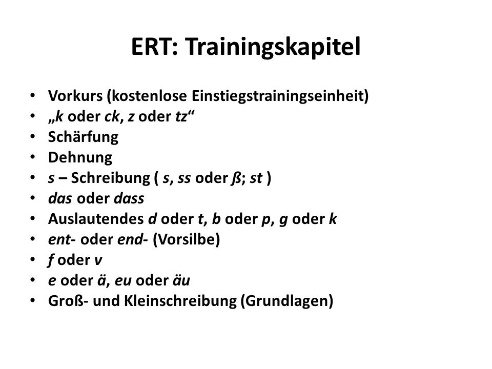 ERT: Trainingskapitel