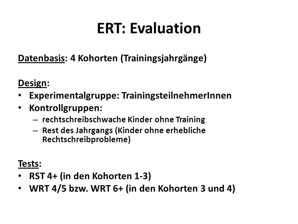 ERT: Evaluation Datenbasis: 4 Kohorten (Trainingsjahrgänge) Design: