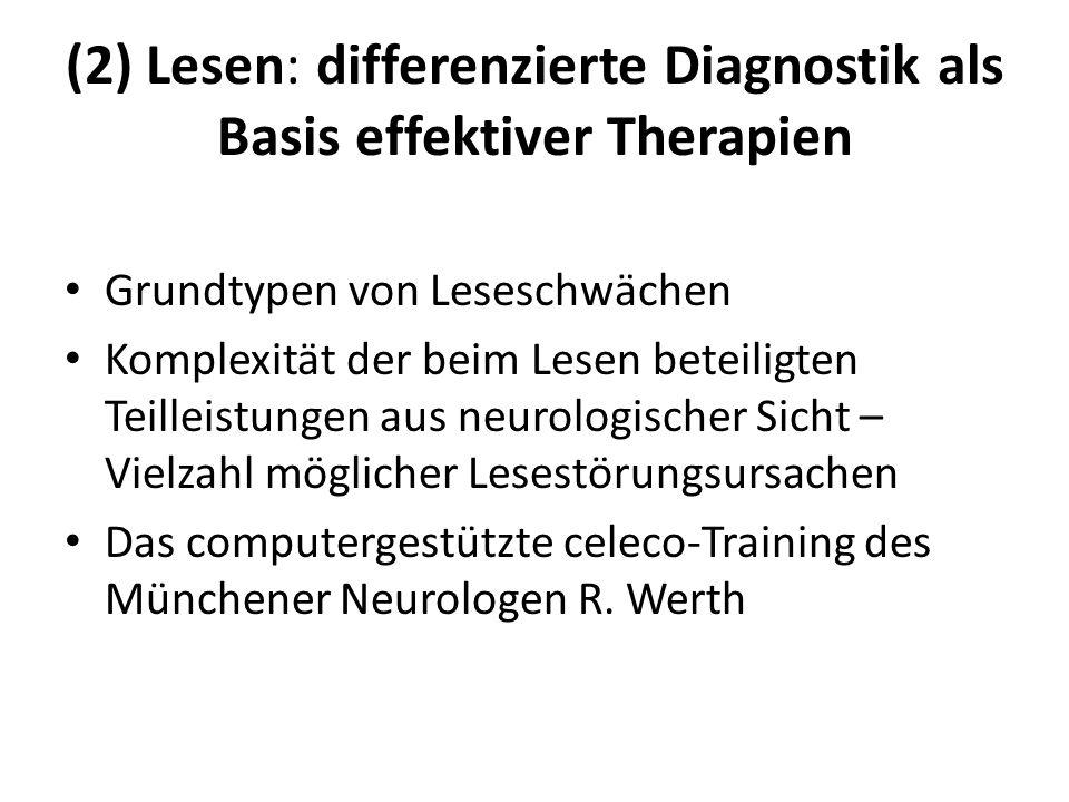 (2) Lesen: differenzierte Diagnostik als Basis effektiver Therapien