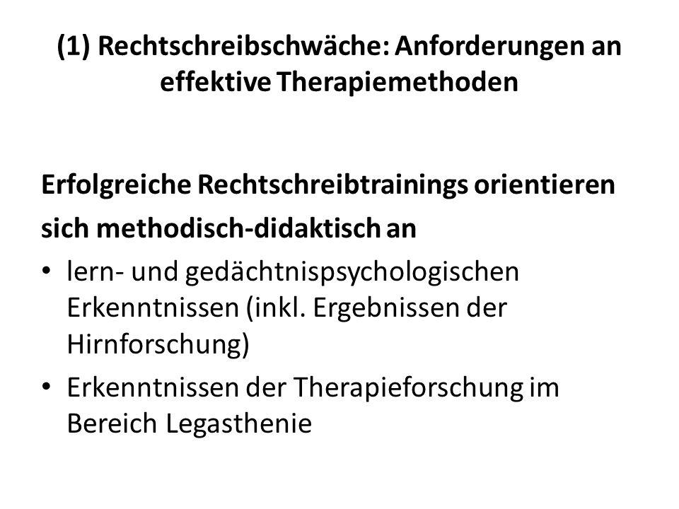(1) Rechtschreibschwäche: Anforderungen an effektive Therapiemethoden