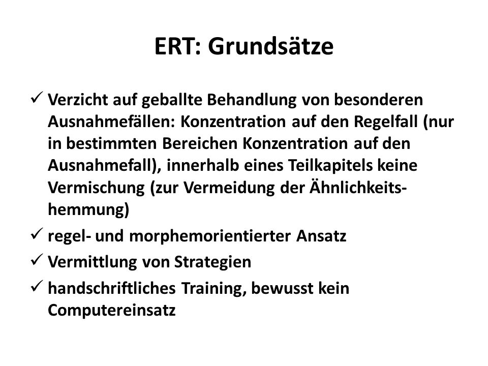 ERT: Grundsätze
