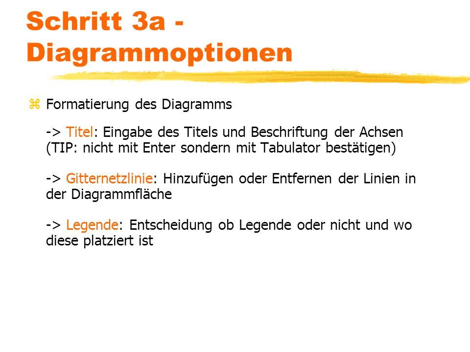 Schritt 3a - Diagrammoptionen