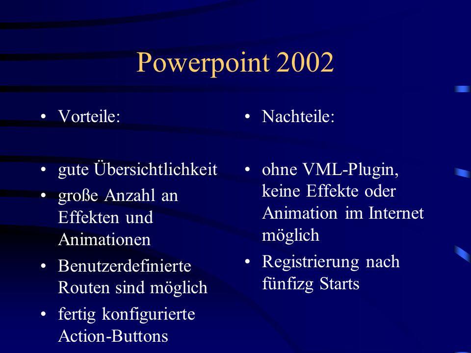 Powerpoint 2002 Vorteile: gute Übersichtlichkeit
