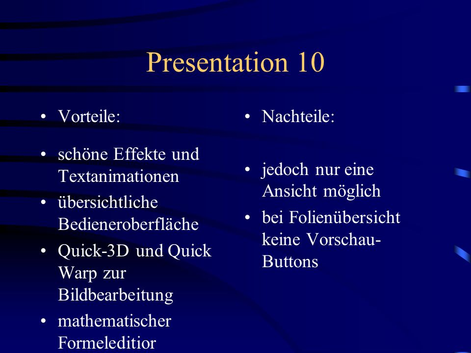 Presentation 10 Vorteile: schöne Effekte und Textanimationen
