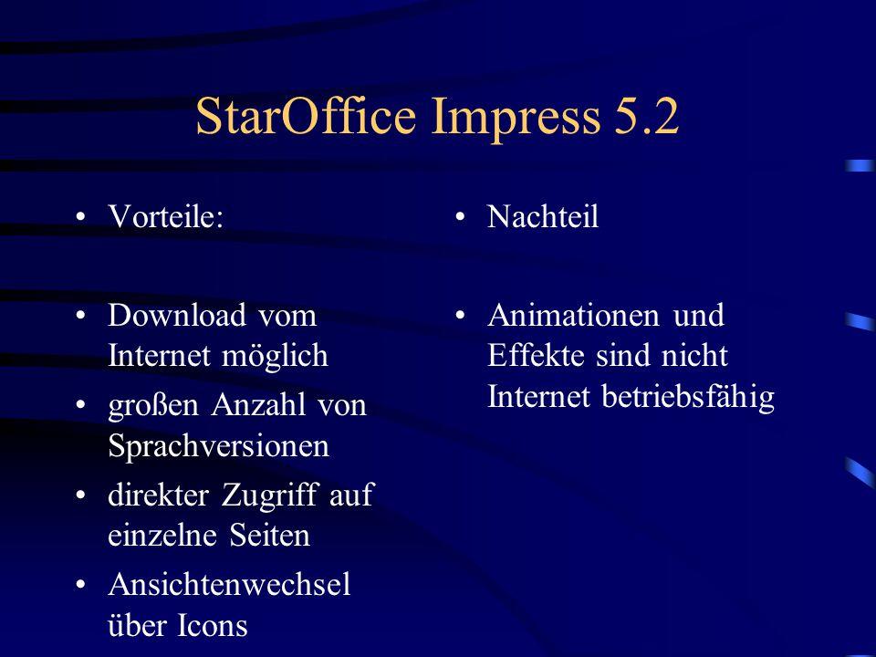 StarOffice Impress 5.2 Vorteile: Download vom Internet möglich
