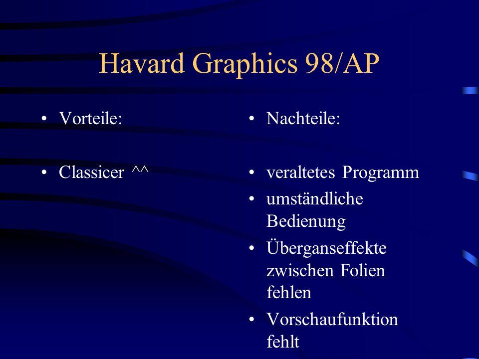 Havard Graphics 98/AP Vorteile: Classicer ^^ Nachteile: