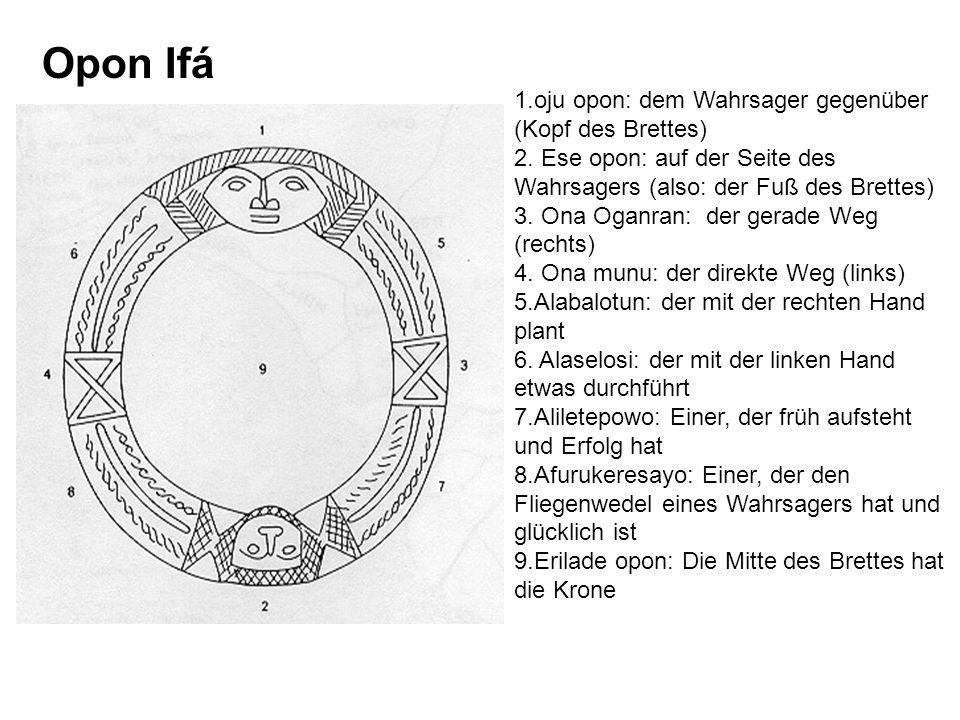Opon Ifá 1.oju opon: dem Wahrsager gegenüber (Kopf des Brettes)