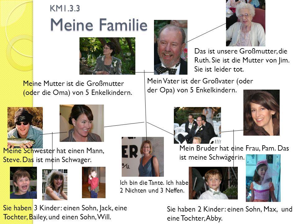 KM1.3.3 Meine Familie Das ist unsere Großmutter, die Ruth. Sie ist die Mutter von Jim. Sie ist leider tot.
