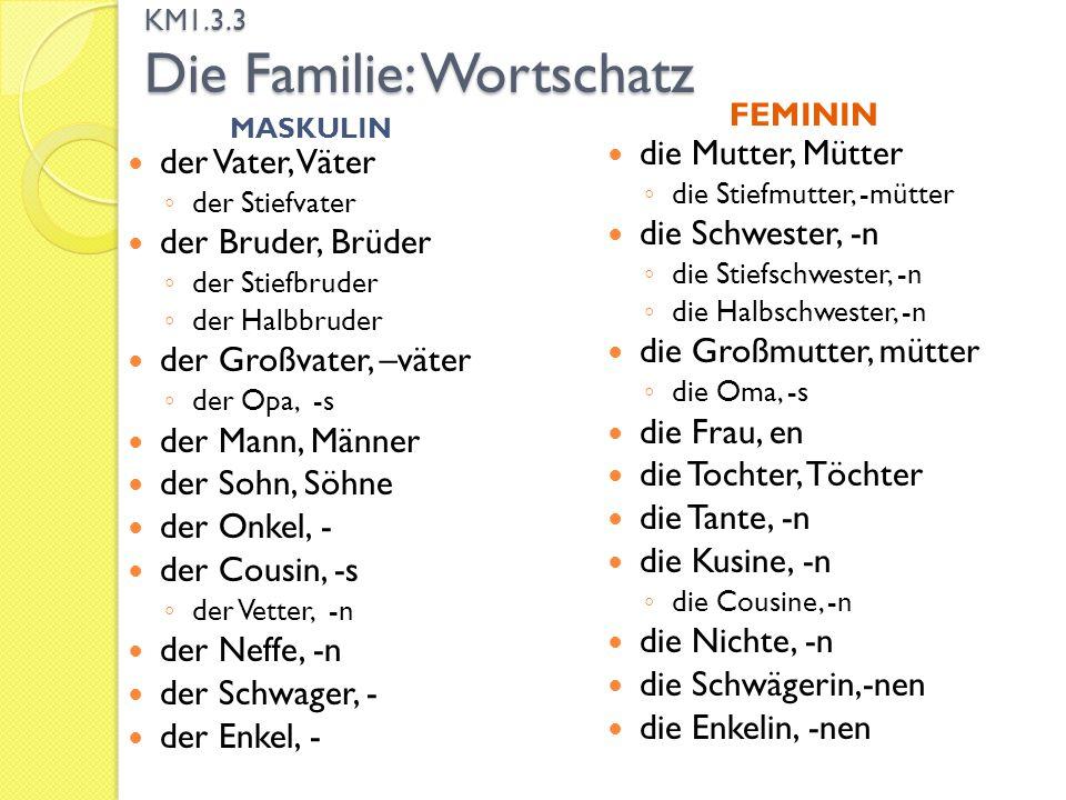 KM1.3.3 Die Familie: Wortschatz