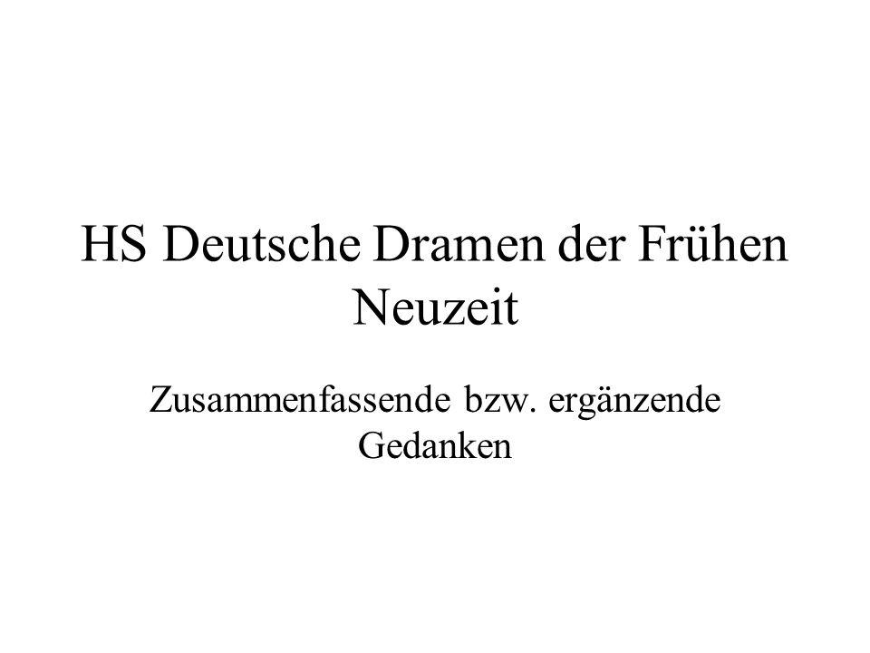 HS Deutsche Dramen der Frühen Neuzeit