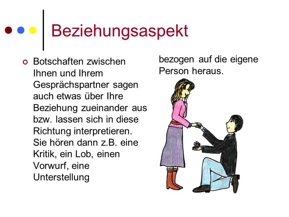 Beziehungsaspekt bezogen auf die eigene Person heraus.