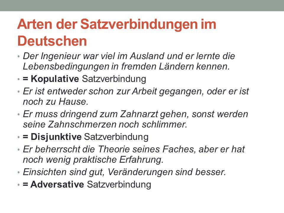 Arten der Satzverbindungen im Deutschen