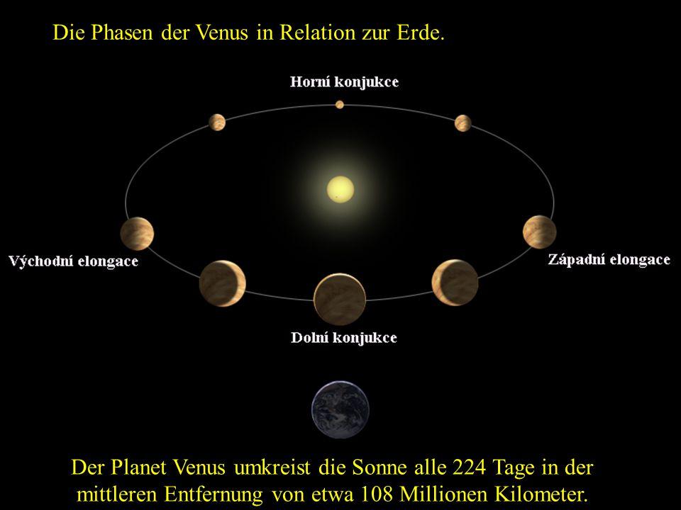 Die Phasen der Venus in Relation zur Erde.