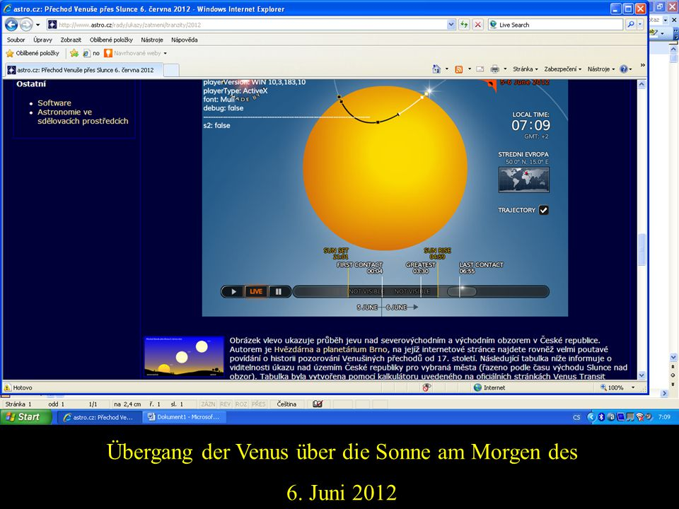 Übergang der Venus über die Sonne am Morgen des