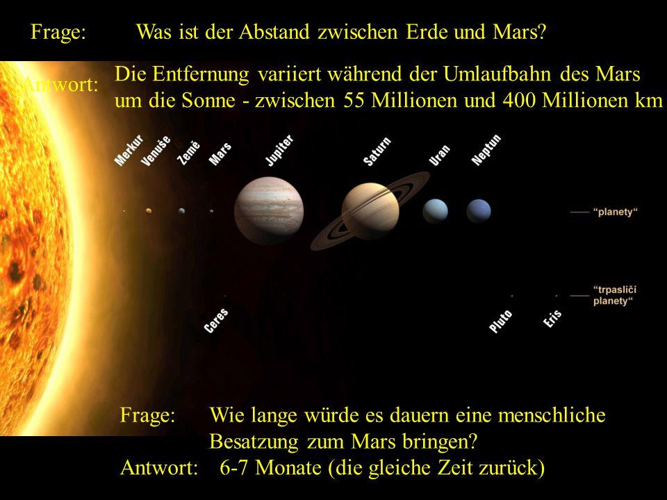 Frage: Was ist der Abstand zwischen Erde und Mars