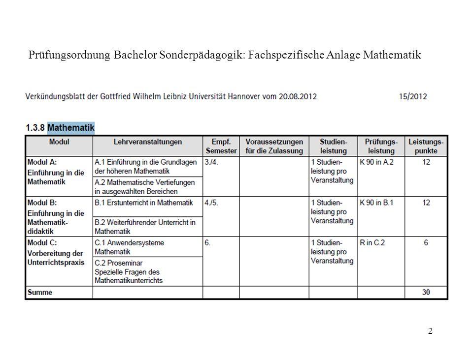 Prüfungsordnung Bachelor Sonderpädagogik: Fachspezifische Anlage Mathematik