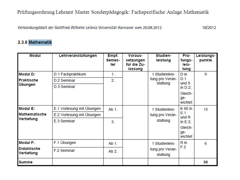 Prüfungsordnung Lehramt Master Sonderpädagogik: Fachspezifische Anlage Mathematik