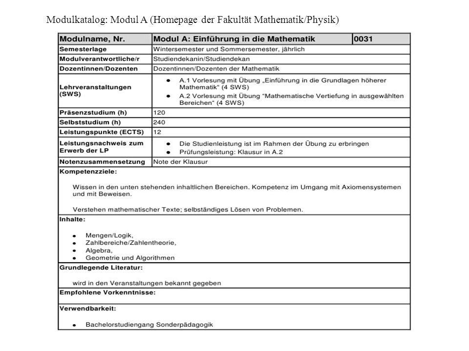 Modulkatalog: Modul A (Homepage der Fakultät Mathematik/Physik)