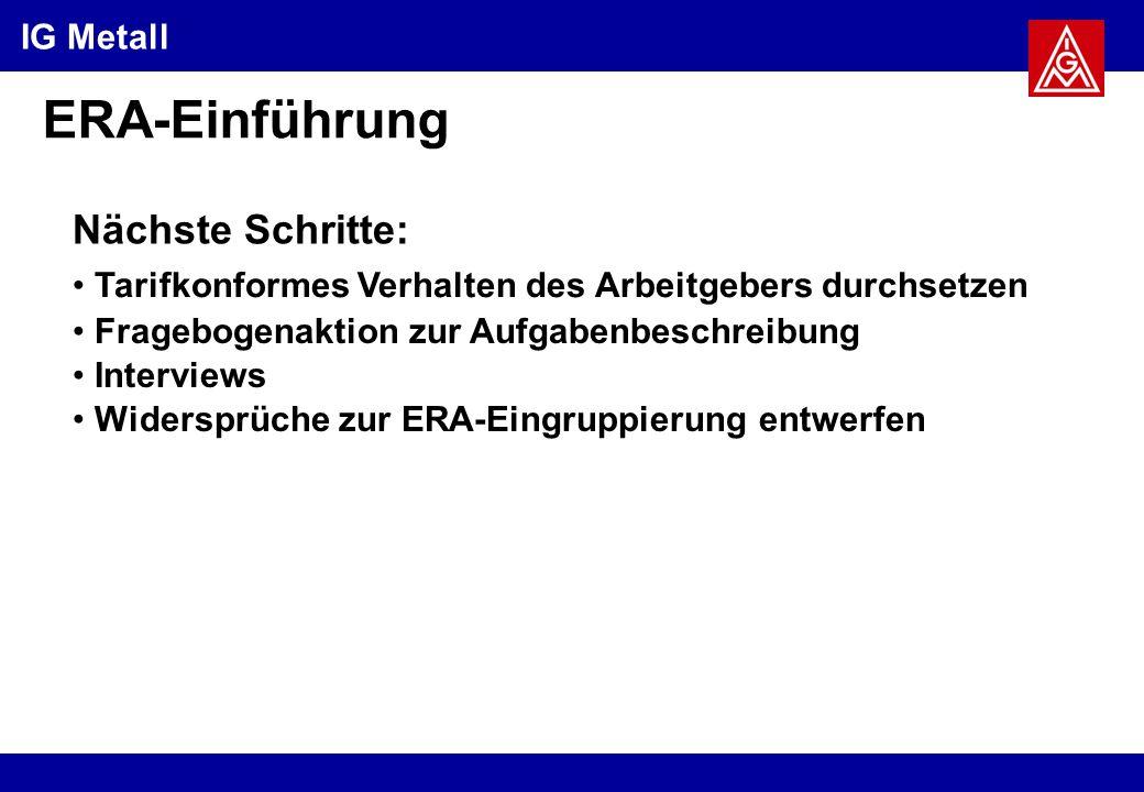 ERA-Einführung Nächste Schritte: