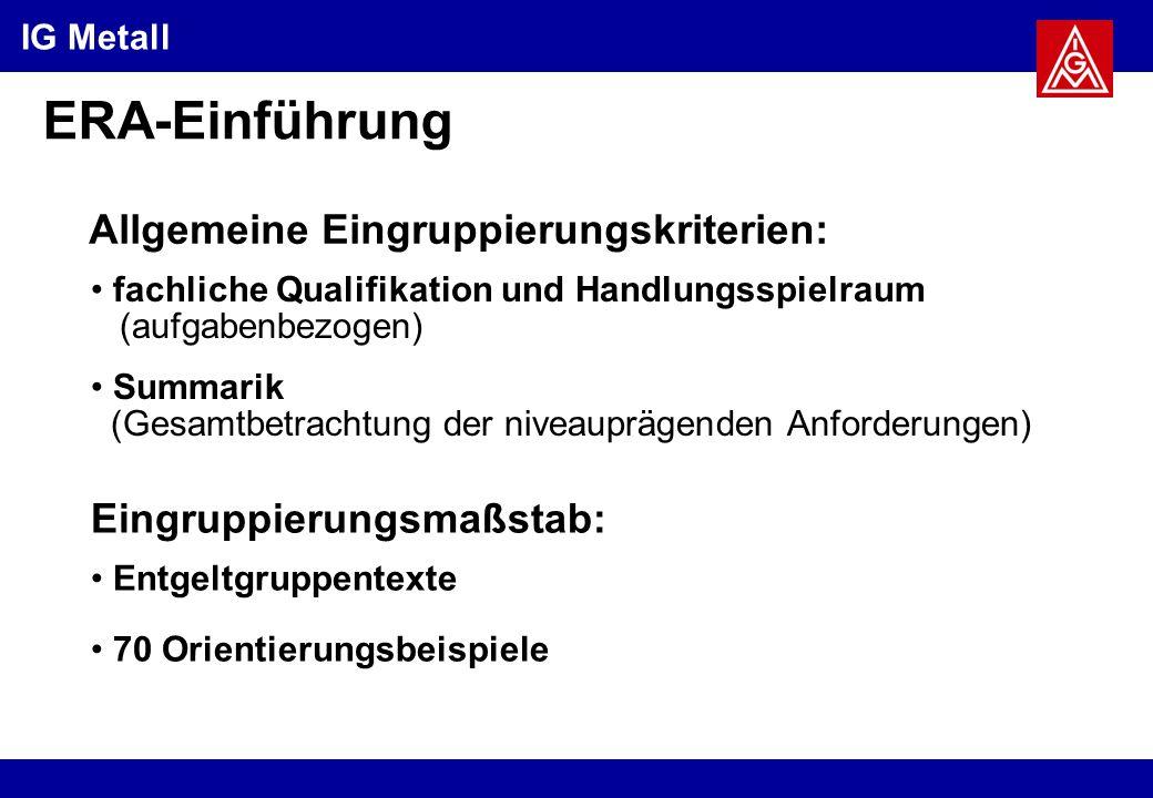 ERA-Einführung Allgemeine Eingruppierungskriterien: