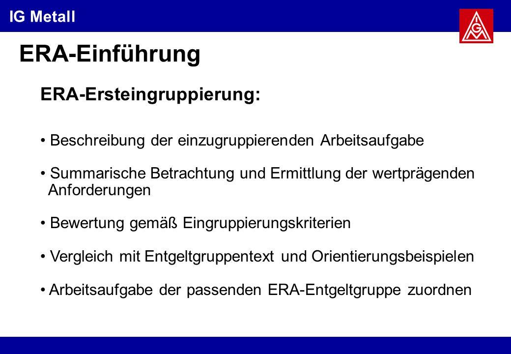 ERA-Einführung ERA-Ersteingruppierung: