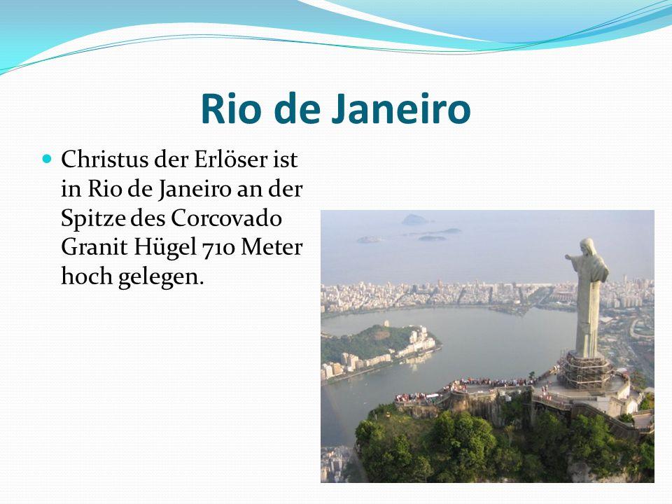 Rio de Janeiro Christus der Erlöser ist in Rio de Janeiro an der Spitze des Corcovado Granit Hügel 710 Meter hoch gelegen.