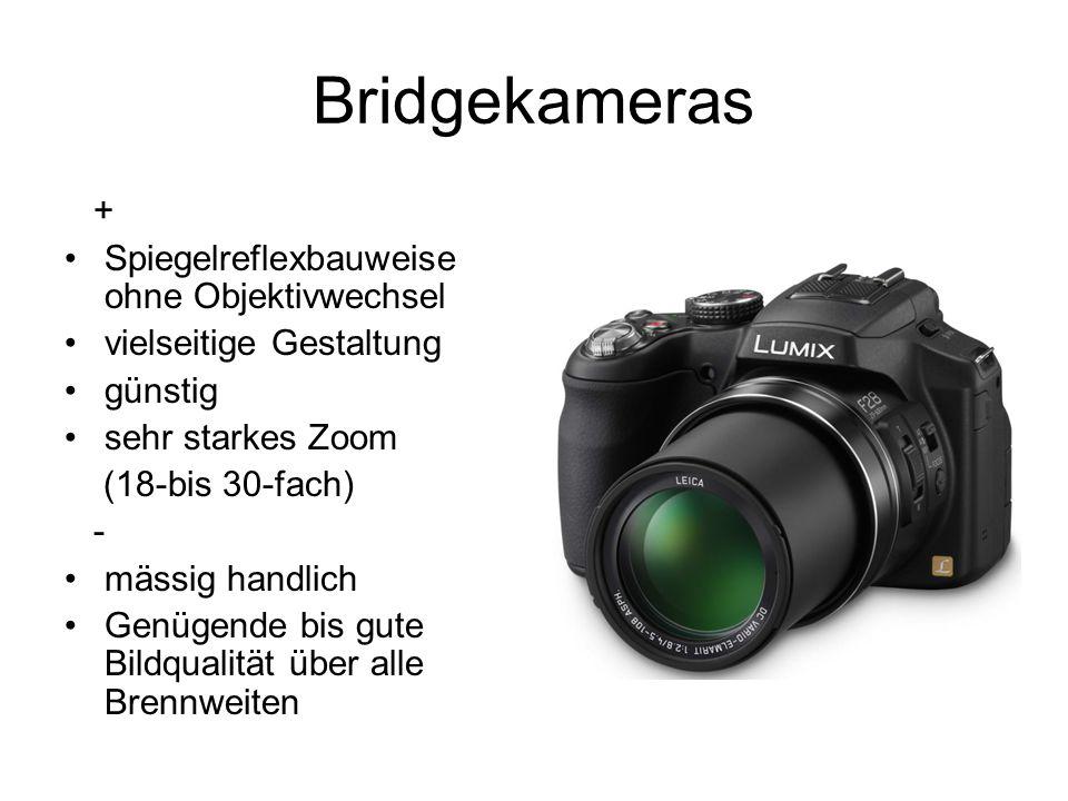 Bridgekameras + Spiegelreflexbauweise ohne Objektivwechsel
