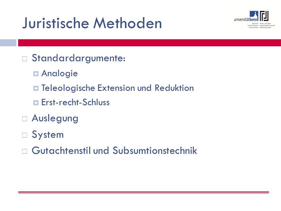 Juristische Methoden Standardargumente: Auslegung System