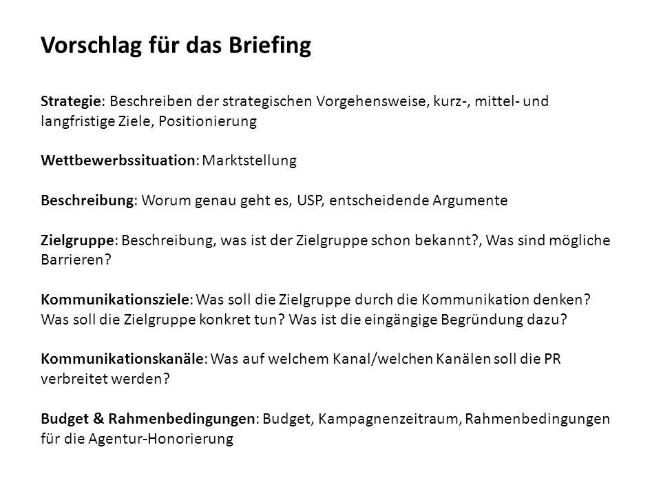 Vorschlag für das Briefing