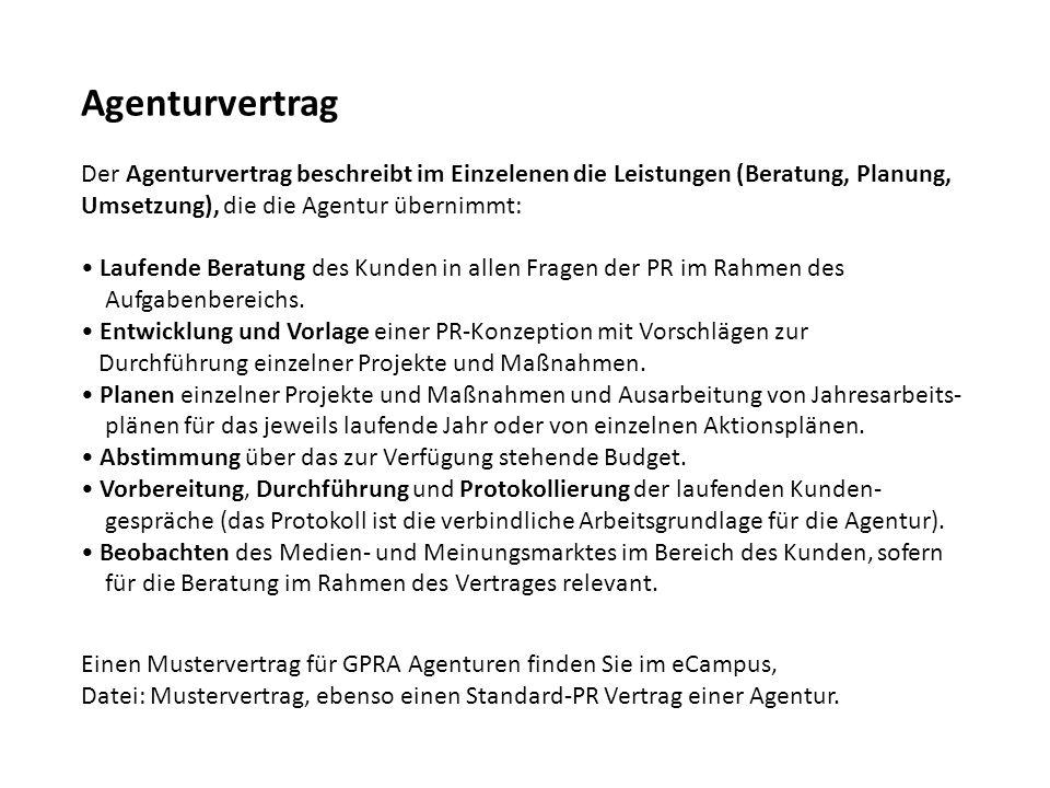 Agenturvertrag Der Agenturvertrag beschreibt im Einzelenen die Leistungen (Beratung, Planung, Umsetzung), die die Agentur übernimmt: