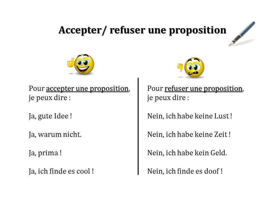 Accepter/ refuser une proposition