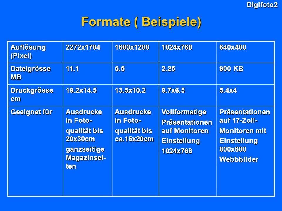Formate ( Beispiele) Digifoto2 Auflösung (Pixel) 2272x1704 1600x1200