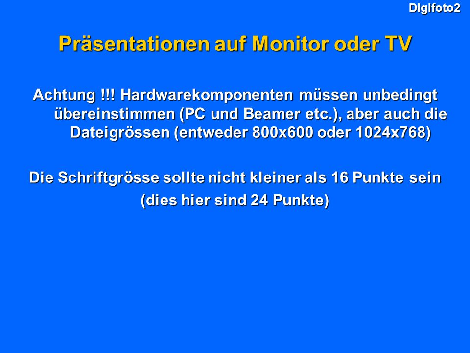 Präsentationen auf Monitor oder TV