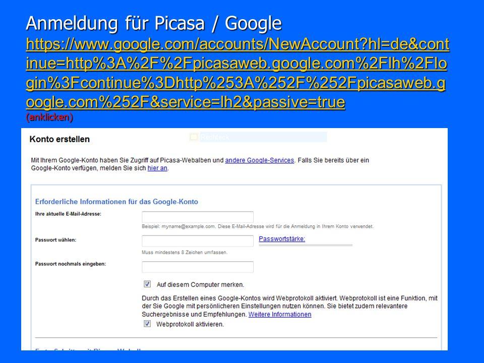 Anmeldung für Picasa / Google https://www. google
