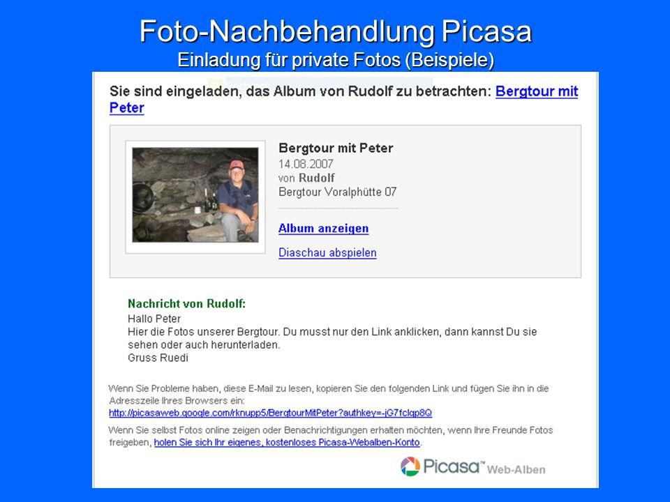 Foto-Nachbehandlung Picasa Einladung für private Fotos (Beispiele)