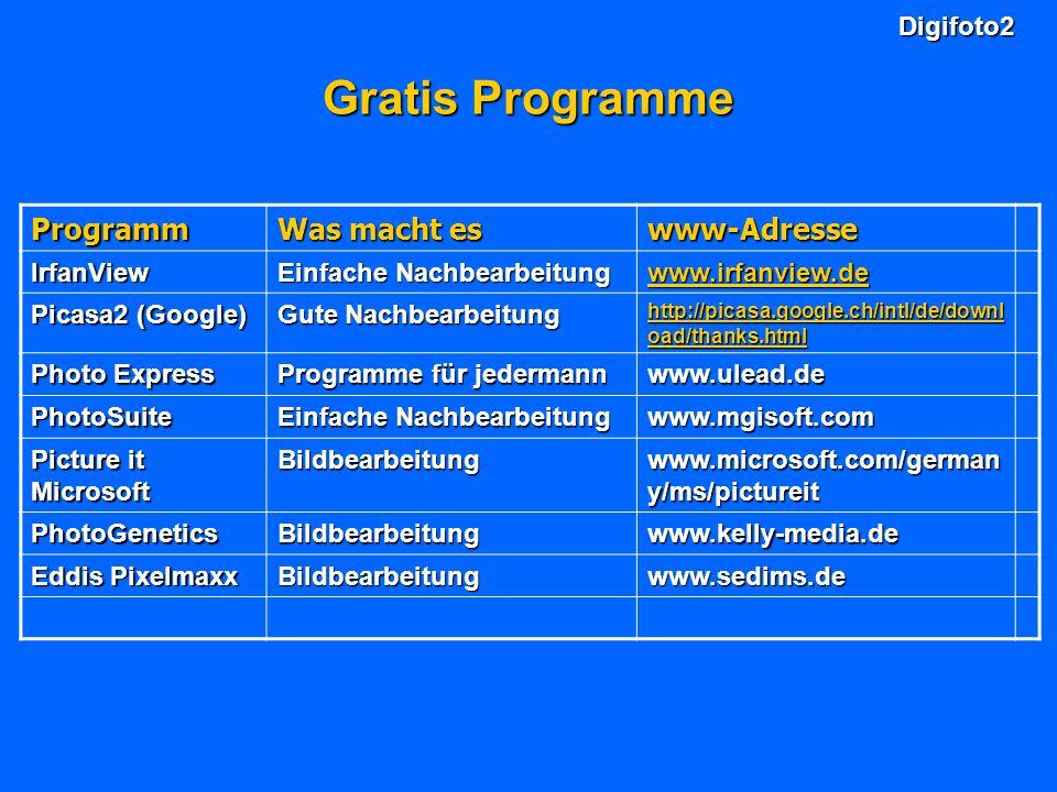 Gratis Programme Programm Was macht es www-Adresse Digifoto2 IrfanView