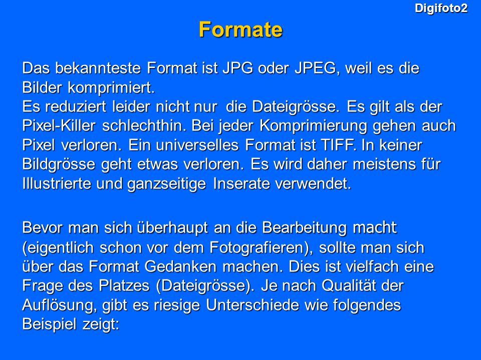 Digifoto2 Formate. Das bekannteste Format ist JPG oder JPEG, weil es die Bilder komprimiert.