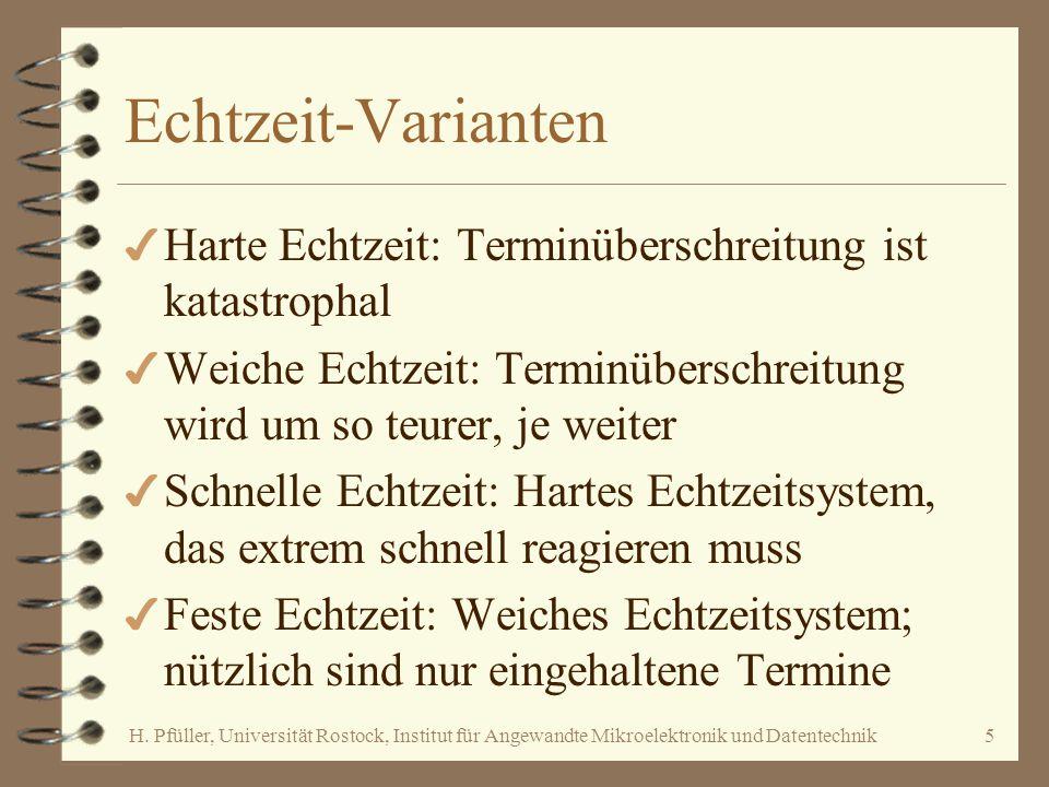 Echtzeit-Varianten Harte Echtzeit: Terminüberschreitung ist katastrophal. Weiche Echtzeit: Terminüberschreitung wird um so teurer, je weiter.