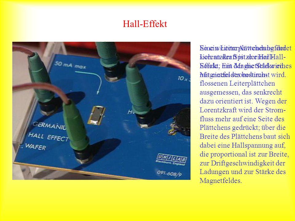 Hall-Effekt So ein Leiterplättchen befindet sich an der Spitze einer Hall-Sonde, mit der die Stärke eines Magnetfeldes bestimmt wird.