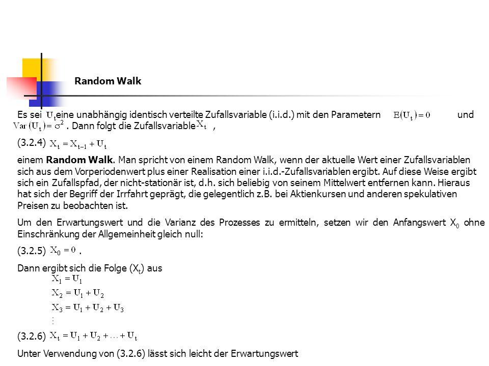 Random Walk Es sei eine unabhängig identisch verteilte Zufallsvariable (i.i.d.) mit den Parametern und . Dann folgt die Zufallsvariable ,