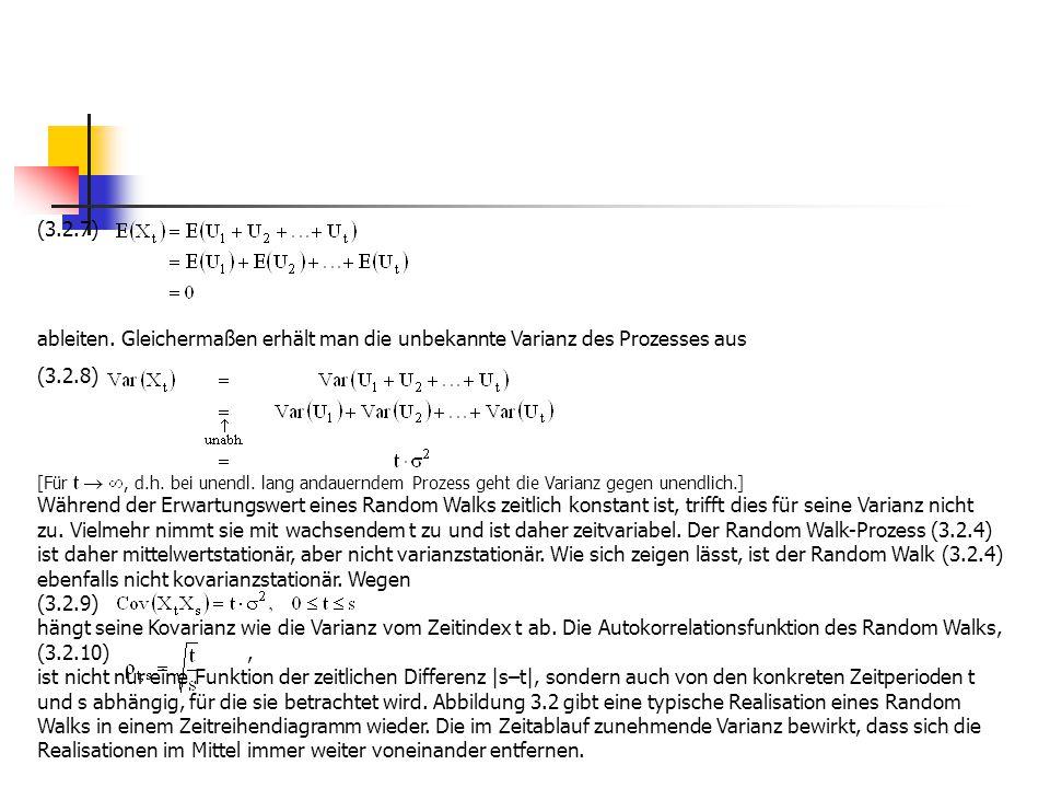 (3.2.7) ableiten. Gleichermaßen erhält man die unbekannte Varianz des Prozesses aus. (3.2.8)