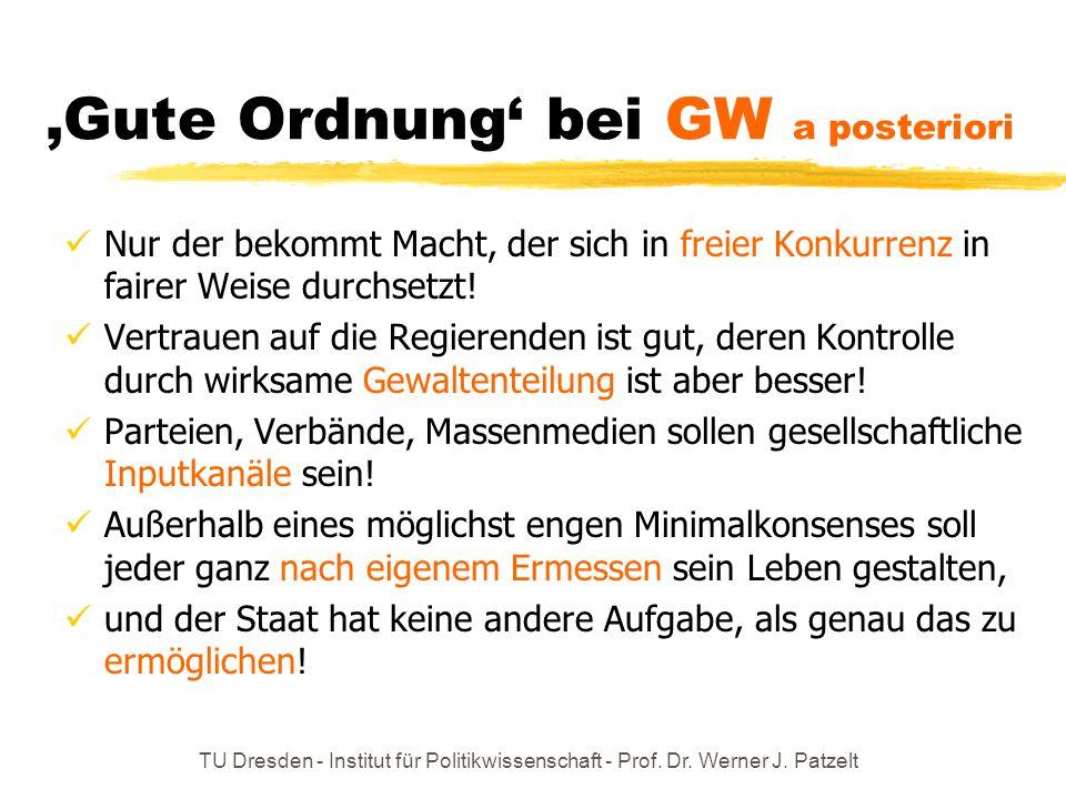 'Gute Ordnung' bei GW a posteriori