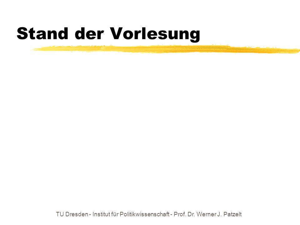 Stand der Vorlesung TU Dresden - Institut für Politikwissenschaft - Prof. Dr. Werner J. Patzelt