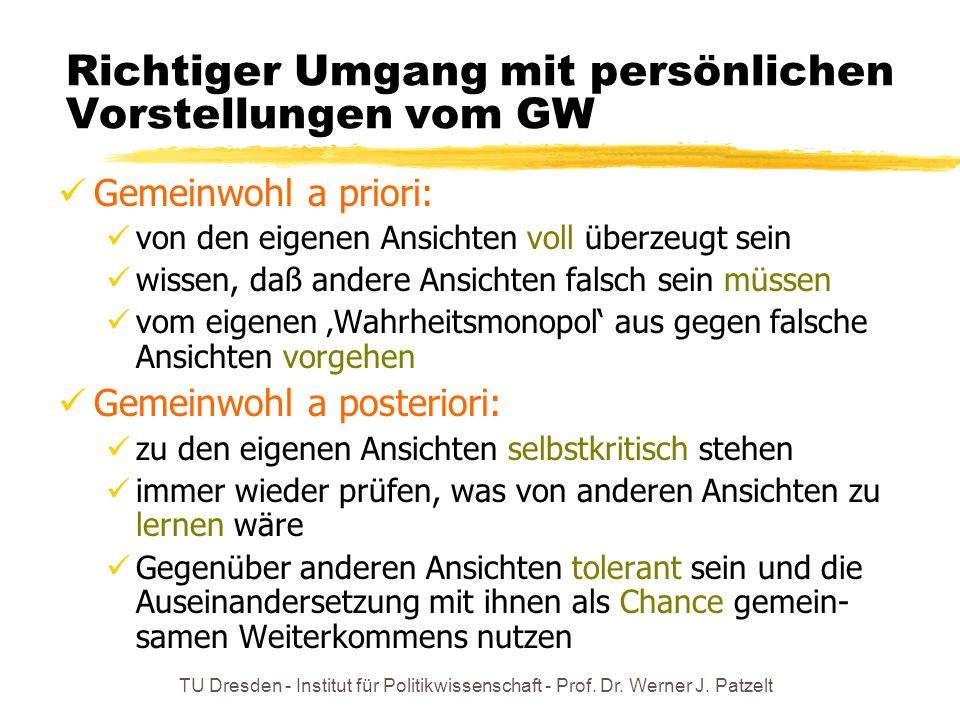 Richtiger Umgang mit persönlichen Vorstellungen vom GW