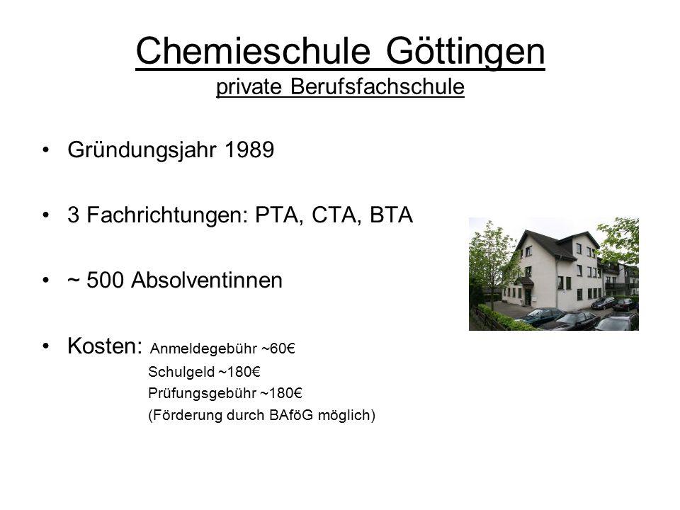 Chemieschule Göttingen private Berufsfachschule