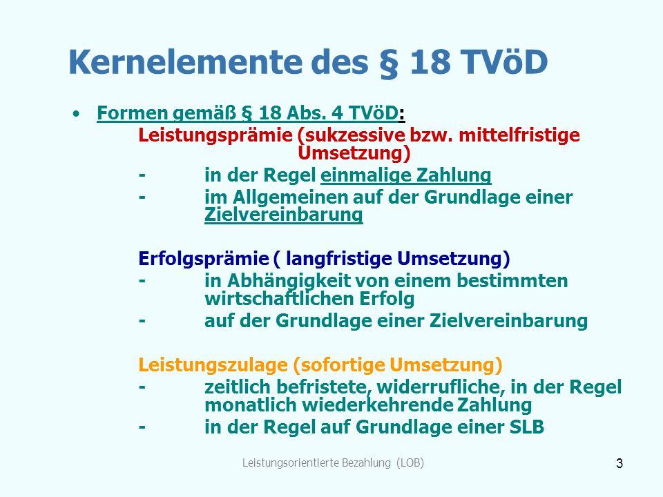 Kernelemente des § 18 TVöD