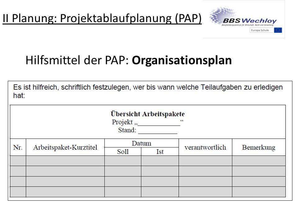 II Planung: Projektablaufplanung (PAP)