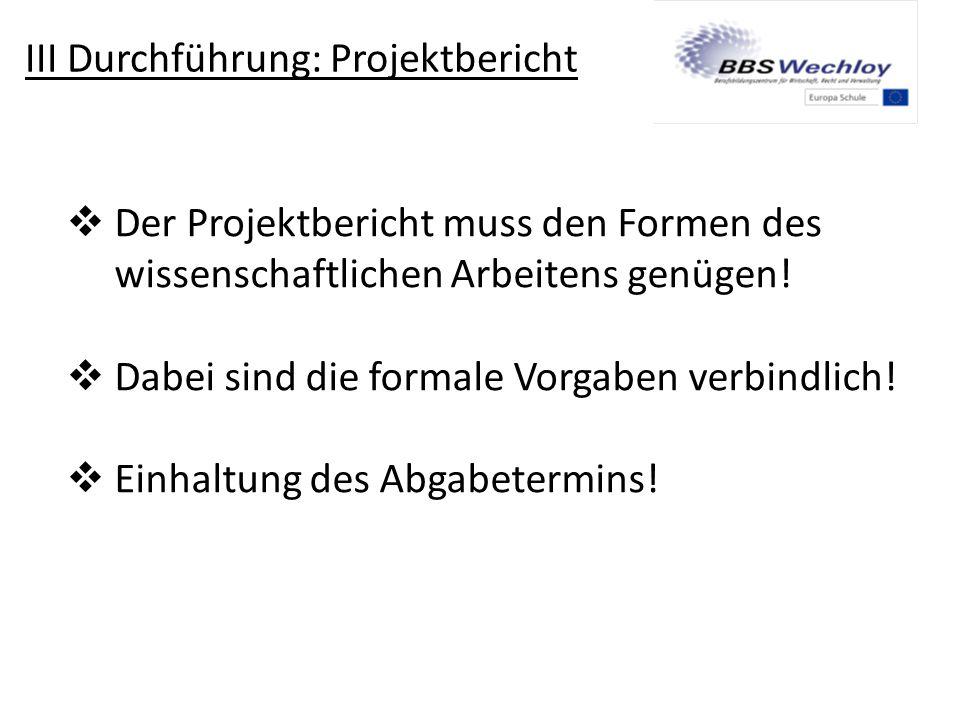 III Durchführung: Projektbericht